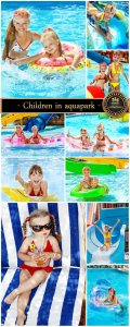 Children in aquapark - stock photos