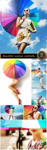 Beautiful woman with colorful umbrella - stock photos