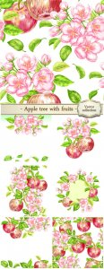 Apple tree with fruit in a vector