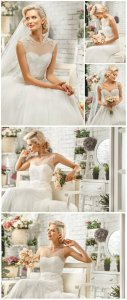Bride in an elegant wedding dress - Stock photo