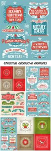 Christmas decorative elements, vector backgrounds