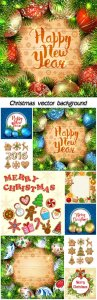 Christmas vector background with Christmas decorations and balloons