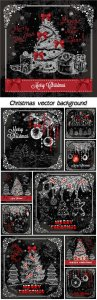Christmas vector background with drawing elements