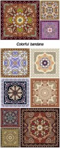 Bandana with a pattern in the Moorish style, with colorful mandala