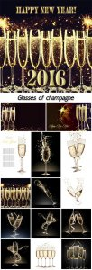 Glasses of champagne, new year