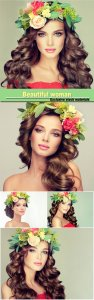 Beautiful woman model brunette with long curly hair floral wreath on the head
